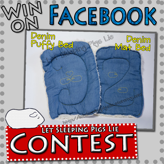 A button to Click to Enter Facebook Contest to Win a Set of Denim Beds