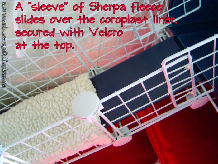 Sleeve of sherpa fleece slides over the coroplast liner, by LetSleepingPigsLie