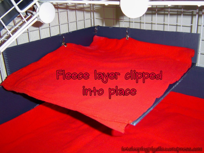 Fleece layer clipped into place