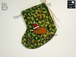 Santa Cavy Stocking Green Holly, by LetSleepingPigsLie