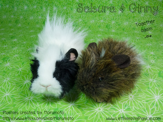Sakura and Ginny, custom plushies