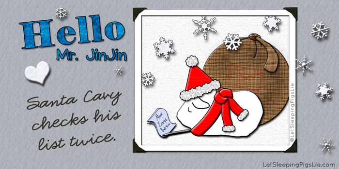 Santa Cavy Checks His List Twice